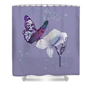 Contemporary Painting Of A Dancing Butterfly  Shower Curtain