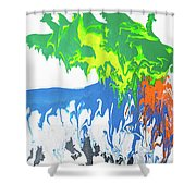 Contemporary Painting Of Moose Shower Curtain