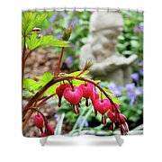 Content Gnome With Bleeding Hearts Shower Curtain