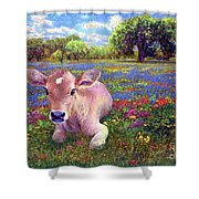Contented Cow In Colorful Meadow Shower Curtain