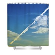 Contrails And Clouds Two  Shower Curtain