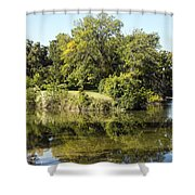 Convergence Of Two Rivers Shower Curtain