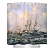Convoy Of East Indiamen Amid Fishing Boats Shower Curtain by Richard Willis