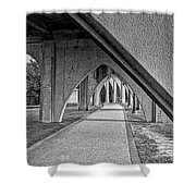 Conway River Walk Black And White Shower Curtain
