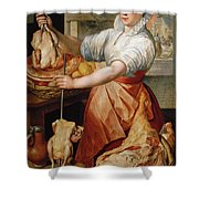 Cook With Chicken. In The Background Christ With Mary And Martha Shower Curtain