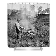 Cooking Over A Campfire Shower Curtain