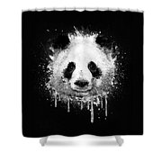 Cool Abstract Graffiti Watercolor Panda Portrait In Black And White  Shower Curtain