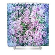 Cool Blue Apple Blossoms Shower Curtain