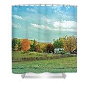 Cool Blue Autumn Farm Shower Curtain