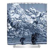 Cool Blue Monotone Grand Teton Shower Curtain