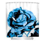 Cool Blue Rose Shower Curtain
