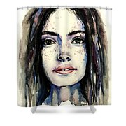 Cool Colored Watercolor Face Shower Curtain