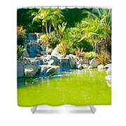 Cool Green Waterfall Shower Curtain