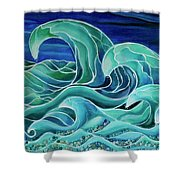 Cool Waves 3-  Shower Curtain