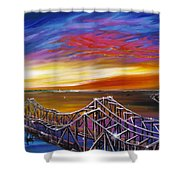Cooper River Bridge Shower Curtain by James Christopher Hill