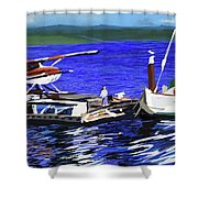 Coos Bay Dockside  Shower Curtain