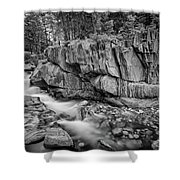 Coos Canyon Black And White Shower Curtain