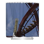 Copenhagen, Denmark, Rollercoaster Ride Shower Curtain