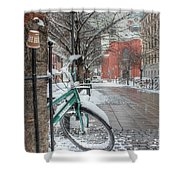 Copenhagen In The Winter.a Lonely Bike Shower Curtain