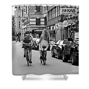 Copenhagen Lovers On Bicycles Bw Shower Curtain