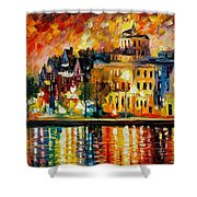 Copenhagen Original Oil Painting  Shower Curtain