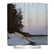 Copper Country Moonset Portrait Shower Curtain