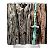 Copper Ground Wire And Knothole On Utility Pole Shower Curtain