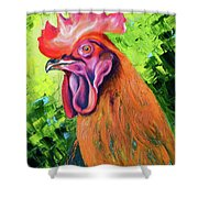 Copper Maran French Rooster Shower Curtain