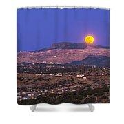 Copper Moon Rising Over The Santa Rita Shower Curtain