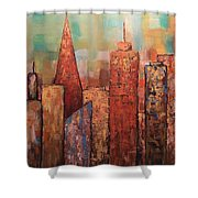Copper Points, Cityscape Painting Shower Curtain