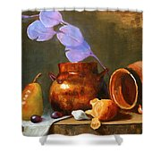 Copper Pot With Clay Pot  Shower Curtain