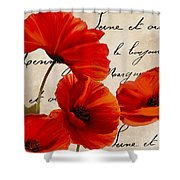 Coquelicots Rouge I Shower Curtain