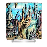 Coral Island, Stone City Of Alien Civilization Shower Curtain