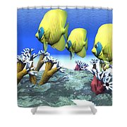 Coral Moods Shower Curtain by Corey Ford
