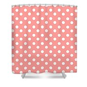 Coral Pink Polka Dots Shower Curtain