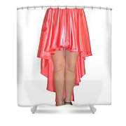 Coral Pink Satin High Low Skirt With High Slit. Ameynra Simple Line Shower Curtain