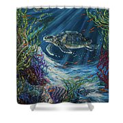 Coral Reef Turtle Shower Curtain
