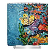 Coral With Cucumber Shower Curtain