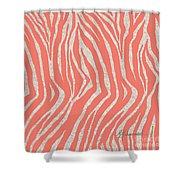 coral Zebra 3 Shower Curtain