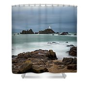 Corbiere Lighthouse Shower Curtain by James Billings