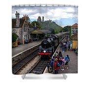 Corfe Castle Station Shower Curtain