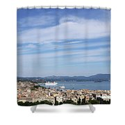 Corfu Town And Port With Cruiser Cityscape Shower Curtain