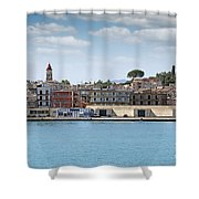 Corfu Town Port With Warehouses Shower Curtain