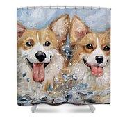 Corgi Splash Shower Curtain