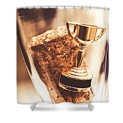 Cork And Trophy Floating In Champagne Flute Shower Curtain