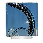 Cork-screw Rollercoaster And Ferris-wheel Shower Curtain