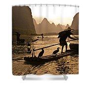 Cormorant Fishermen At Sunset Shower Curtain