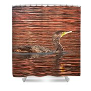 Cormorant On Autumn Red Shower Curtain