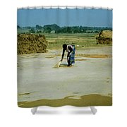 Corn Processing Shower Curtain