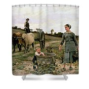 Corner Of A Vineyard Shower Curtain by Edouard Debat Ponsan